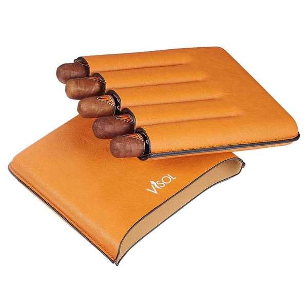 Visol Dakota Tan 60 Ring Gauge Cigar Case - Holds 5 Cigars