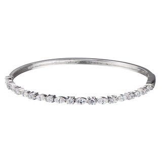 Round and Marquise Cut CZ Bangle Bracelet