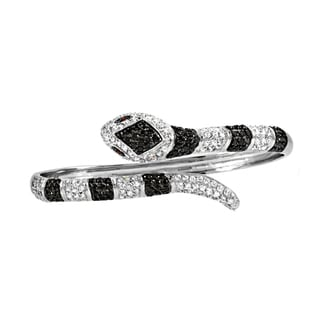 Black & Clear CZ Snake Bangle