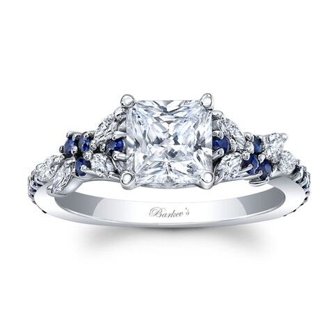 14k White Gold 1ct TDW Diamond and Blue Sapphire Princess Engagement Ring