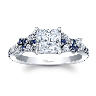 14k White Gold 1ct TDW Diamond and Blue Sapphire Princess Engagement Ring (F-G, SI1-SI2)