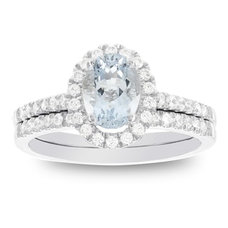 H Star 14k White Gold Oval Aquamarine and 1/2ct TDW Diamond Halo Bridal Set (I-J, I2-I3)