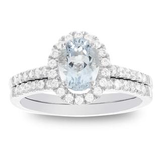 H Star 14k White Gold Oval Aquamarine and 1/2ct TDW Diamond Halo Bridal Set (I-J, I2-I3)