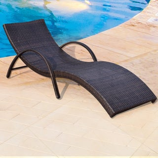 Adeco Brown Wicker Outdoor Lounge Chair