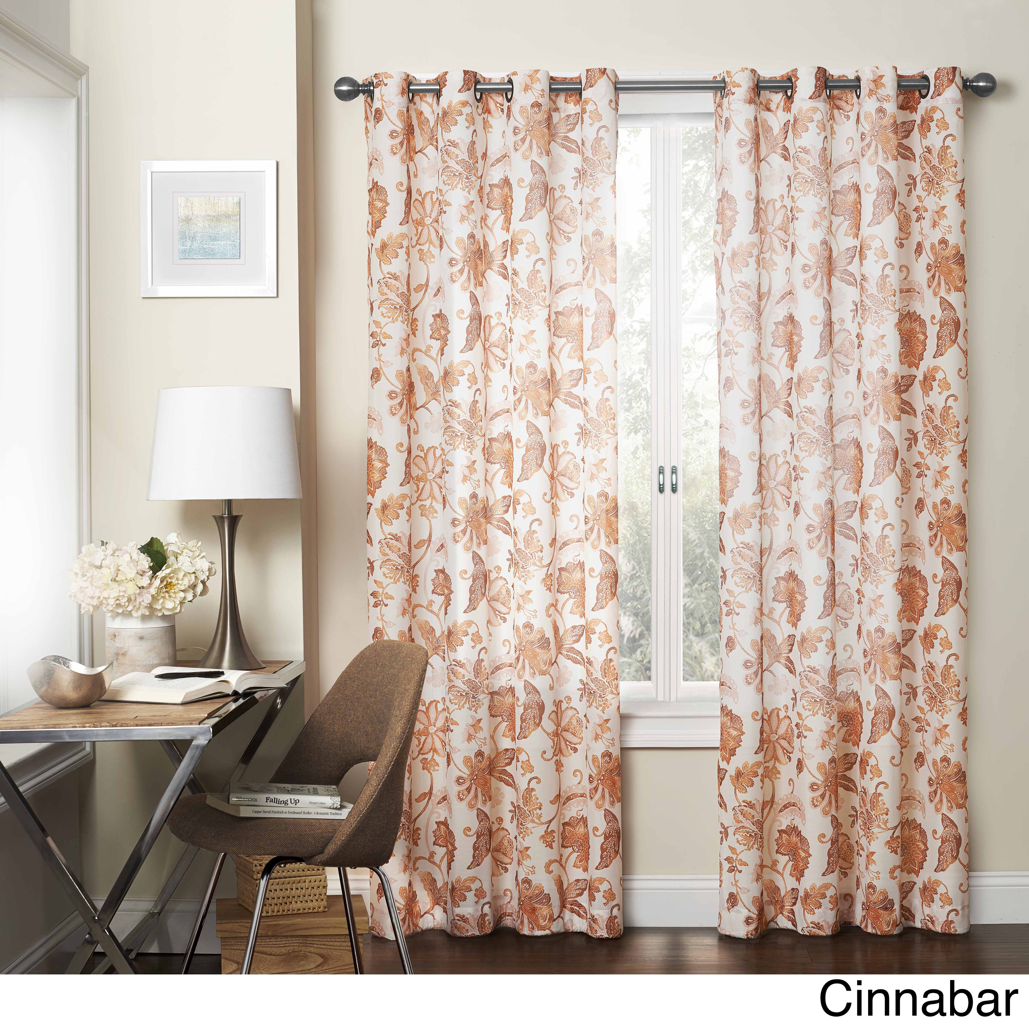 Eclipse Wythe Floral Light-filtering Sheer Curtain Panel ...
