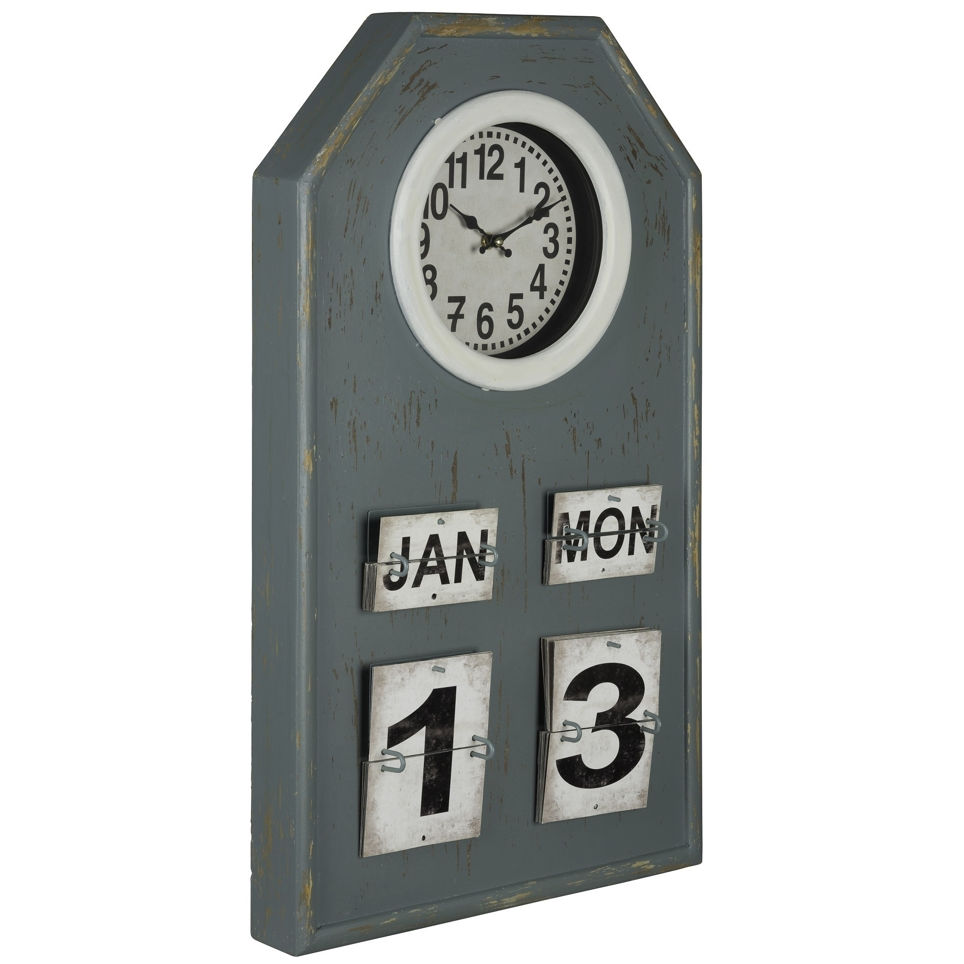 Glazier blue wood kitchen wall Clock on