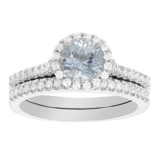 H Star 14k White Gold Aquamarine and 2/5ct TDW Diamond Halo Bridal Set (I-J, I2-I3)