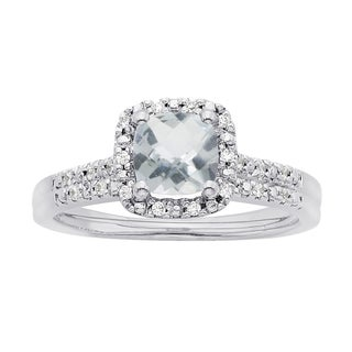 H Star 14k White Gold Cushion Aquamarine and 1/8ct TDW Diamond Halo Bridal Set (I-J, I2-I3)