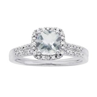 H Star 14k White Gold Cushion Aquamarine and 1/8ct TDW Diamond Halo Bridal Set (I-J, I2-I3)