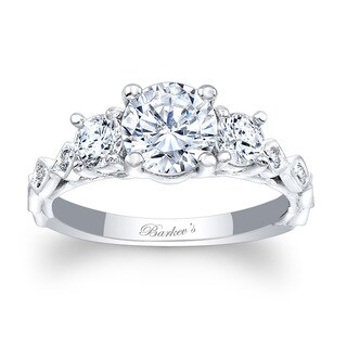 Barkev's Designer 14k White Gold 1 3/4ct TDW Round-cut Diamond Engagement Ring