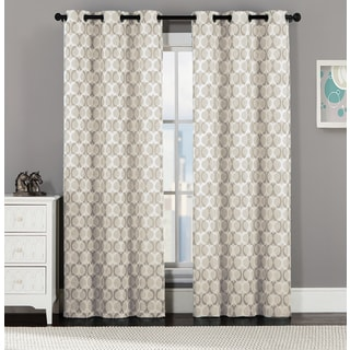 Logan 84-Inch Jacquard Curtain Panel Pair with Grommets
