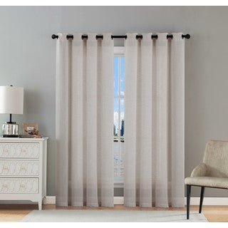 VCNY Hamilton Solid Sheer Curtain Panel Pair
