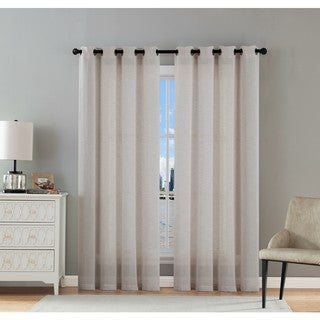 VCNY Hamilton Solid Sheer Curtain Panel Pair
