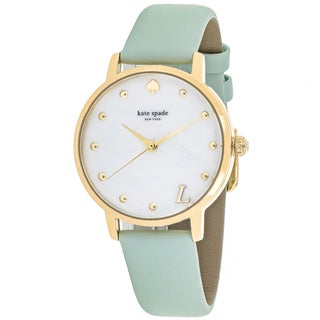 Kate Spade Women's KSW1100L Metro Round White Mother of Pearl Dial Leather Strap Watch