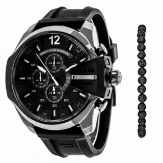 Diesel Men's DZ4404 Chief Round Black Dial Silicone Strap Watch