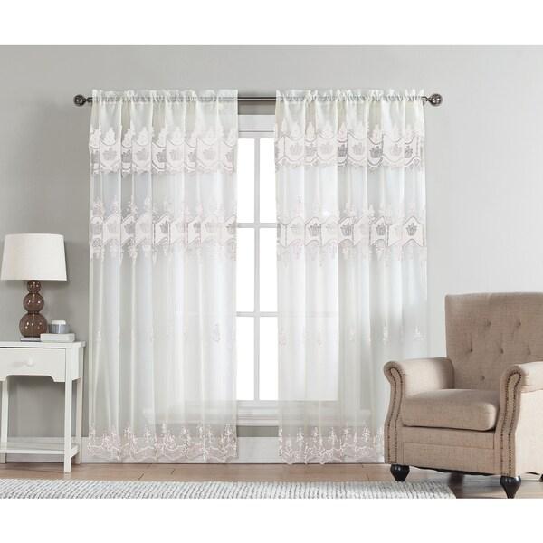 Macrame Curtains Part - 31: Artistic Linen Elsa Sheer 84-Inch Macrame Curtain Panel