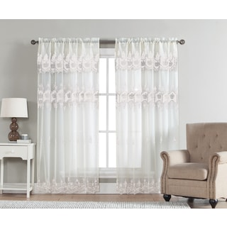 Elsa Sheer Polyester 84-Inch Macrame Curtain Panel