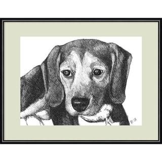 Framed Art Print 'Lindy the Beagle Dog' by Beth Thomas 13 x 11-inch