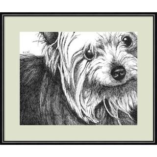 Framed Art Print 'Bella the Yorkie Dog' by Beth Thomas 13 x 11-inch