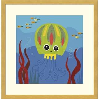 Framed Art Print 'Jenny (Jellyfish)' by Jenn Ski 17 x 17-inch https://ak1.ostkcdn.com/images/products/12270481/P19109839.jpg?impolicy=medium