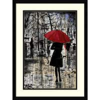 Framed Art Print 'Metro Red Umbrella' by Loui Jover 17 x 23-inch