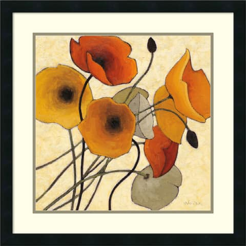 Framed Art Print 'Pumpkin Poppies II' by Shirley Novak 25 x 25-inch