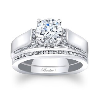 Barkev's Designer 14k White Gold 1 1/4ct TDW Round-cut Bridal Ring Set (More options available)
