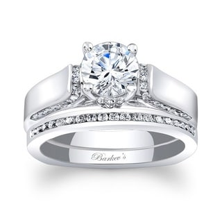 Barkev's Designer 14k White Gold 1 1/4ct TDW Round-cut Bridal Ring Set (F-G, SI1-SI2)