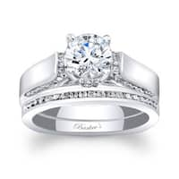 Barkev's Designer 14k White Gold 1 1/4ct TDW Round-cut Bridal Ring Set