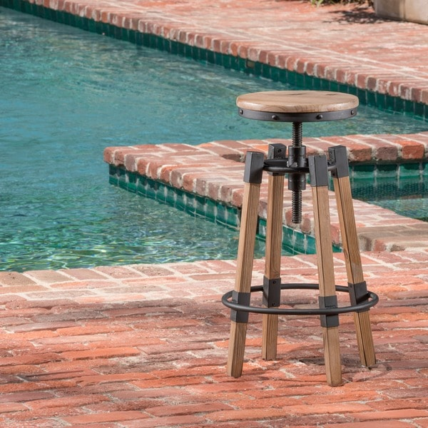 Shop Grady 25 Inch Rustic Wood Swivel Barstool By