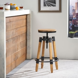 Grady Rustic Wood Swivel Barstool by Christopher Knight Home