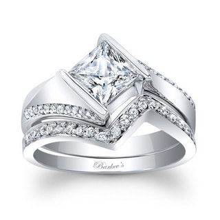 Barkev's Designer 14k White Gold 1 1/3ct TDW Princess-cut Diamond Bridal Set Ring (F-G, SI1-SI2)