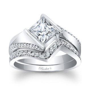 Barkev's Designer 14k White Gold 1 1/3ct TDW Princess-cut Diamond Bridal Set Ring (Option: 8.75)|https://ak1.ostkcdn.com/images/products/12270689/P19110426.jpg?impolicy=medium