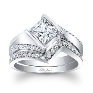 Barkev's Designer 14k White Gold 1 1/3ct TDW Princess-cut Diamond Bridal Set Ring