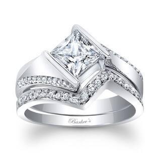Barkevs Designer 14k White Gold 1 3ct TDW Princess Cut Diamond Bridal Set
