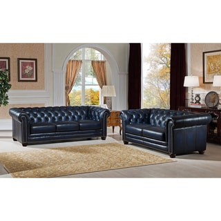 Nebraska Navy Blue Genuine Hand-Rubbed Leather Chesterfield Sofa and Loveseat Set