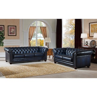 Nebraska Navy Blue Genuine Hand-Rubbed Leather Chesterfield Sofa and Loveseat Set