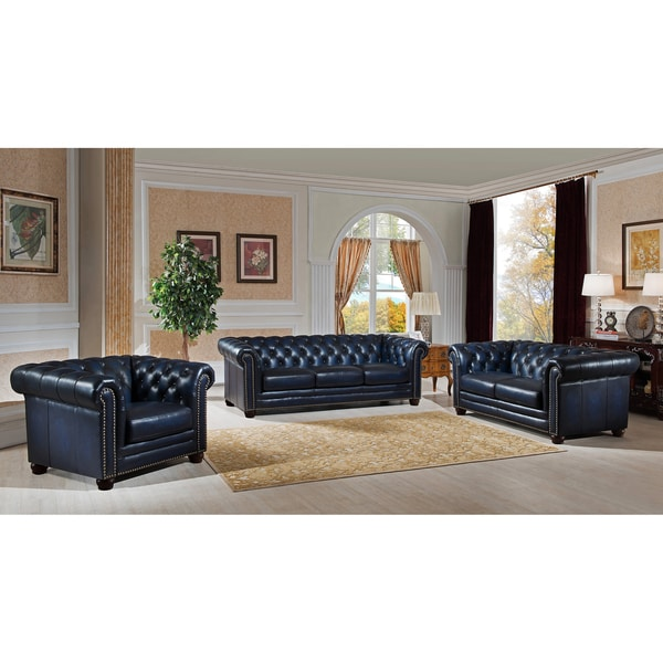 Shop Blue Hand Rubbed Genuine Leather Chesterfield Sofa Loveseat And