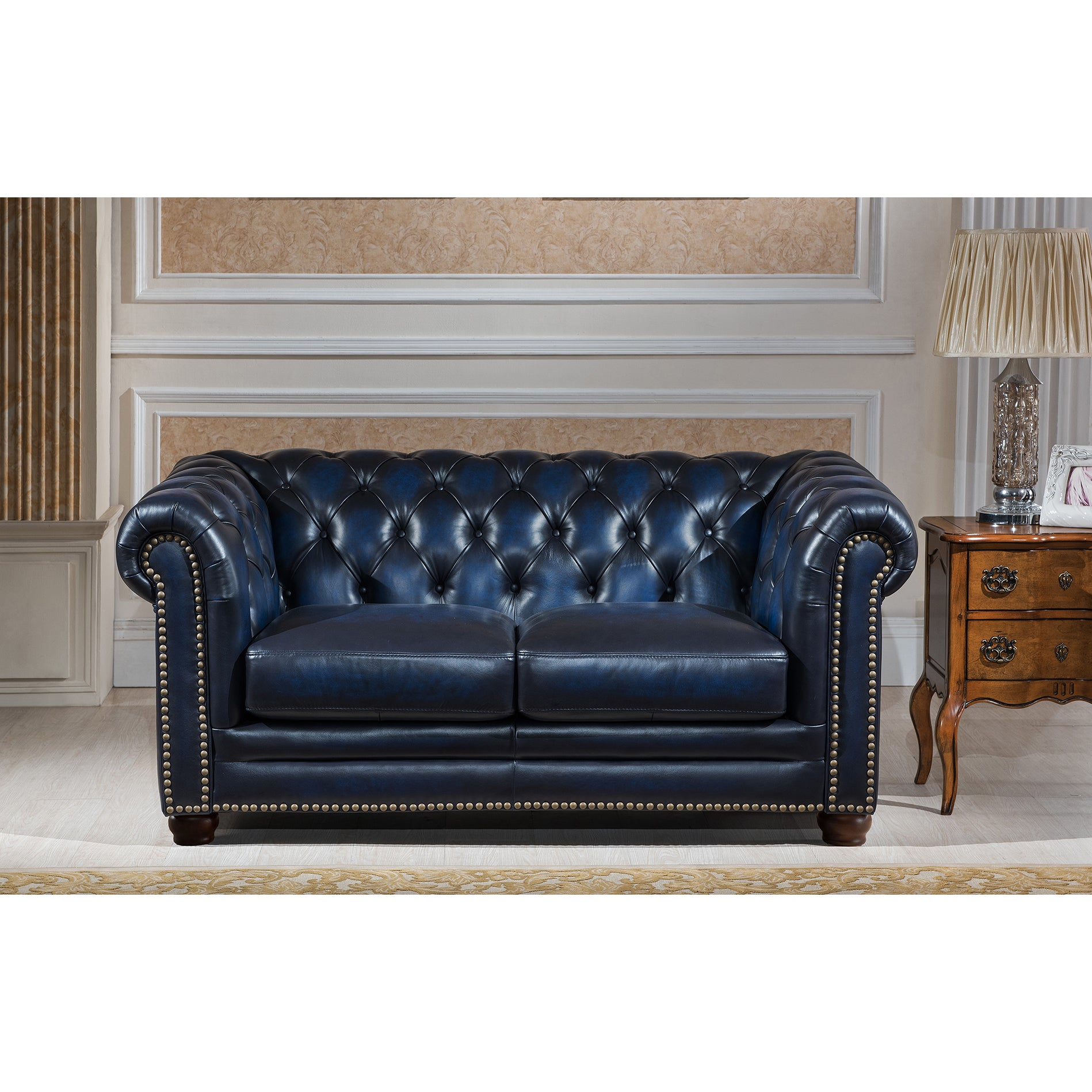 https www overstock com home garden blue hand rubbed genuine leather chesterfield sofa loveseat and chair set 12271170 product html