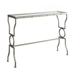 Silver Metal Tempered Glass Console Table
