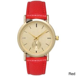 Olivia Pratt Women's Tan Stainless Steel/Leather Fashionable Watch