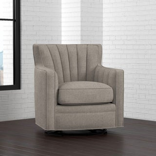 Portfolio Zahara Dove Grey Linen Swivel Arm Chair