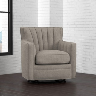 Handy Living Zahara Dove Grey Linen Swivel Arm Chair
