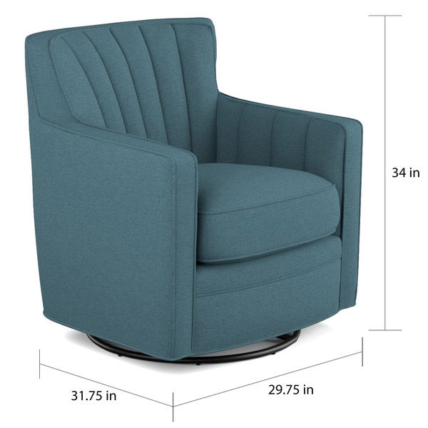 Copper Grove Hasselt Blue Linen Swivel Arm Chair