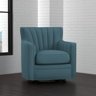 Handy Living Zahara Blue Linen Swivel Arm Chair