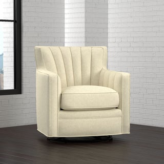 Handy Living Zahara Oatmeal Tan Linen Swivel Arm Chair