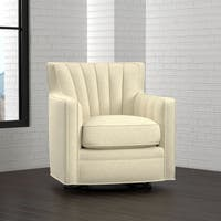 Handy Living Zahara Oatmeal Tan Linen Swivel Arm Chair