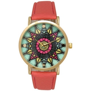 Olivia Pratt Women's Multicolored Leather/Stainless Steel Colorful Tribal Watch