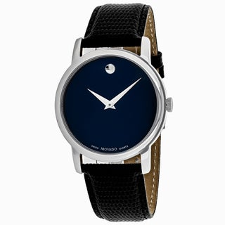 Movado Men's 2100007 Museum Round Dark Navy Blue Dial Leather Strap Watch