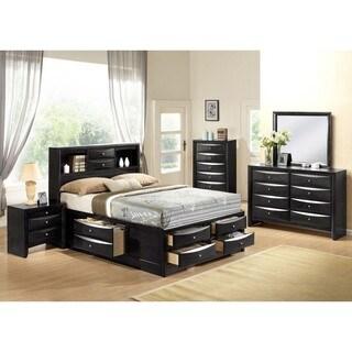 Ireland Black 4 Piece Storage Bedroom Set (Option: Full)